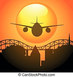 Silhouette scene with airplane flying over bridge...