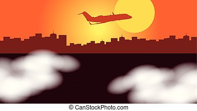Silhouette scene with airplane flying over city illustration