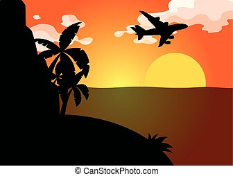 Silhouette scene with airplane flying over ocean at sunset