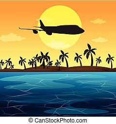 Silhouette scene with airplane flying over ocean...