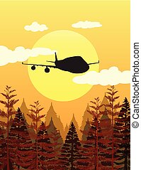 Silhouette scene with airplane flying over pine forest...