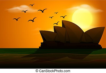 Silhouette scene with opera house at sunset