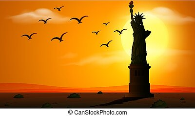 Silhouette scene with statue of liberty at sunset