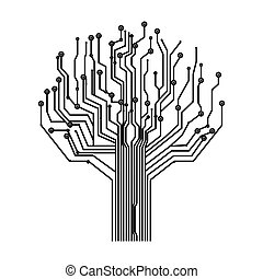 silhouette, scheda circuito, albero, fondo