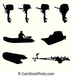 silhouette, scheepje, motor, outboar