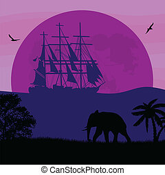 silhouette, scheeps , elefant, oud, oceaan