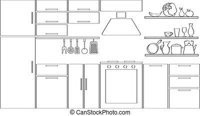 silhouette, schets, keuken