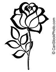 silhouette, schets, vrijstaand, roos, black , white.