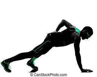 silhouette, schieben, fitness, übungen, ups, mann