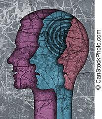 silhouette., schizofrenia, testa, maschio