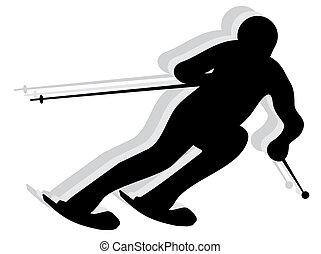 silhouette, schnee, skier