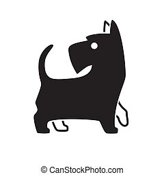 silhouette, schottische , hunde ikone, vektor, terrier, design., logo
