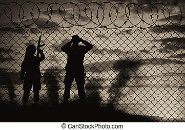Silhouette scouts terrorists - Concept of terrorism....