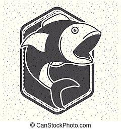 silhouette, scudo, pesci grandi, scintilla, bocca, fondo, monocromatico, emblema, bianco, aperto