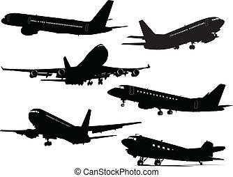 silhouette, sei, aeroplano, vettore