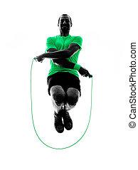 silhouette, seil, springende , fitness, übungen, mann