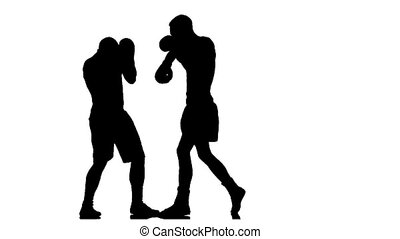 Silhouette. Serie different blows to the head in a box
