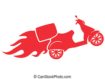silhouette, service, scooter, -, livraison rapide, symbole
