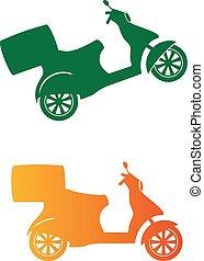 silhouette, service, scooter, -, livraison rapide, vecteur