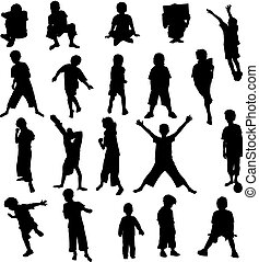 silhouette, set, 20, bambini
