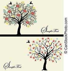 silhouette, set, albero, astratto
