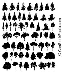 silhouette, set, albero