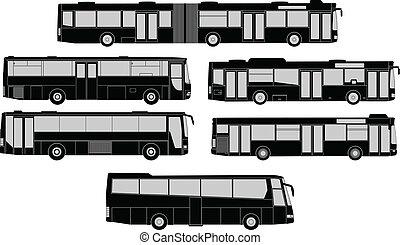 silhouette, set, autobus