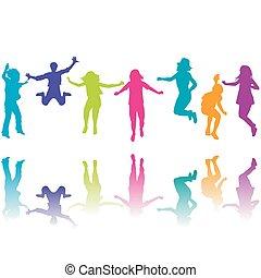 silhouette, set, bambini, colorito, saltare