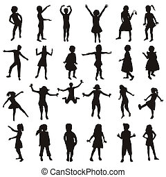 silhouette, set, bambini