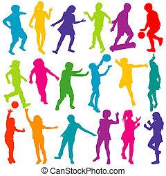 silhouette, set, bambini giocando, colorato