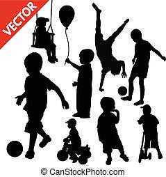 silhouette, set, bambini giocando