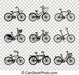 silhouette, set, bicycles, retro