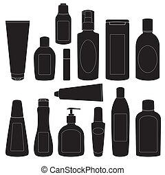 silhouette, set, bottiglie, cosmetico