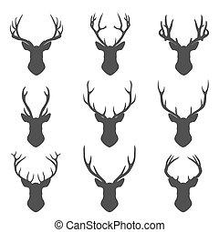 silhouette, set, cervo