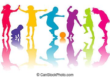 silhouette, set, colorato, bambini
