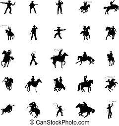 silhouette, set, cowboy