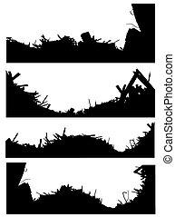 silhouette, set, di, uno, luogo demolizione