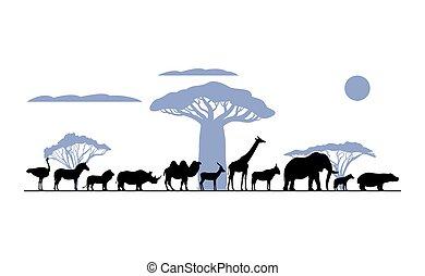 silhouette, set, dieren, afrikaan