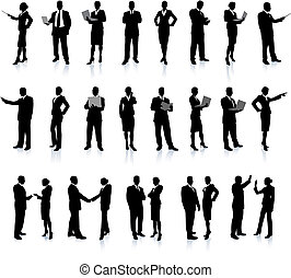 silhouette, set, fantastisch, zakenlui