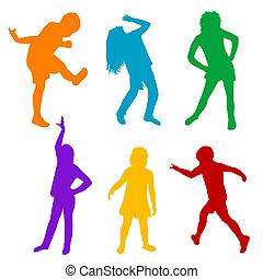 silhouette, set, gioco, colorato, bambini