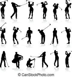 silhouette, set, golf, femmina, maschio