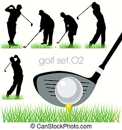 silhouette, set, golf