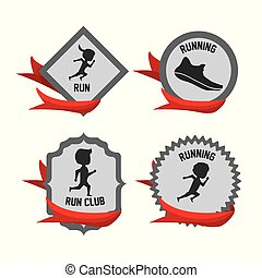 silhouette set icon related with running and competition sport