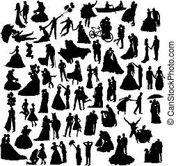 silhouette, set, matrimonio