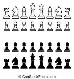 silhouette, set., -, morceaux, vecteur, noir, échecs, blanc