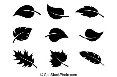 silhouette, set, nero, foglie