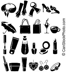 Silhouette set of different woman's things