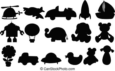 Silhouette set of toys