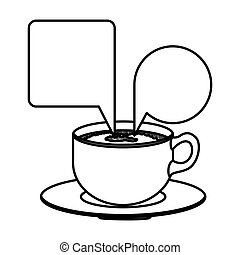 silhouette set porcelain cup coffee with dialogue callout...