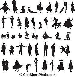 silhouette, set, retro, persone
